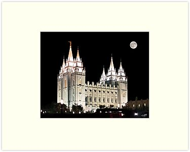 Salt Lake Temple by moonlight 20x24 by Ken Fortie