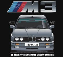 BMW E30 M3 25th Anniversary (Nogaro Silver) White Text by Sharknose