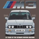 BMW E30 M3 25th Anniversary (Lachs Silver) White Text by Sharknose