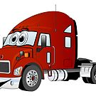 Semi Truck Red Cartoon by Graphxpro