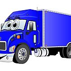 Container Truck Blue Cartoon by Graphxpro