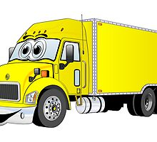 Container Truck Yellow Cartoon by Graphxpro
