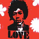 Jimmy Hendrix Stencil graffiti Japan by monsterplanet