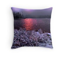 Big Lake Snow Storm Throw Pillow