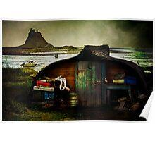 Fisherman's hut on Lindisfarne Poster