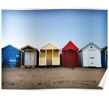 Beach Huts; all in a row. Southend, Essex, UK Poster