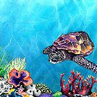 Sea Turtle - Seascape Watercolour by Brazen Edwards-Hager