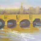 Golden Glow, River Seine Bridge by Tash  Luedi Art