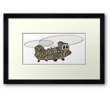 Chinook Military Helicopter Cartoon Framed Print