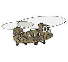 Chinook Military Helicopter Cartoon Photographic Print