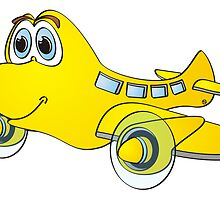 Yellow Airplane Cartoon by Graphxpro