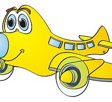 Yellow Blue Nose Airplane Cartoon by Graphxpro