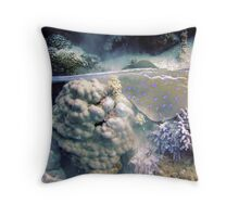 Blue Spotted Ray Feeding Throw Pillow