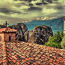 Greece. Meteora. The roofs of The Holy Monastery of Varlaam. by vadim19