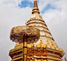 Chedi And Gold Umbrella by phil decocco