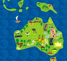 Cartoon Map of Australia by Anastasiia Kucherenko