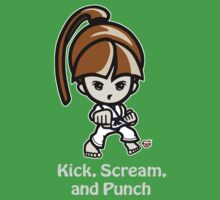 Martial Arts/Karate Girl - Front punch (gray font) Kids Clothes