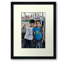 Trolley boy & Friend Framed Print