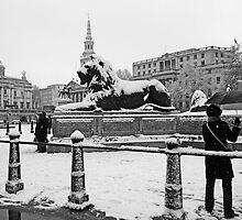 London Trafalgar Square in the Snow by DavidGutierrez