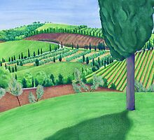 Tuscan Quilt - the view from Sant Antimo by WinkingOwl