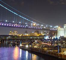 The Philadelphia Marine Center under the Ben Franklin Bridge, Philadelphia, PA by Schuyler L