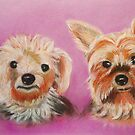Yorkshire Terriers in pastel by Woodie