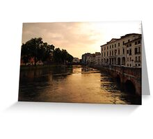 Sunset on the River Sile, Treviso Greeting Card