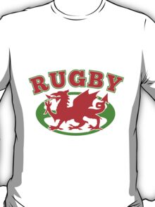Welsh dragon rugby ball Wales Flag T-Shirt