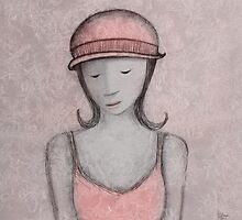 blue girl, pink hat by Julie Hartman