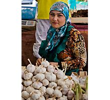 Garlic seller Photographic Print