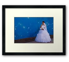 Bride posing Framed Print