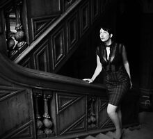 Black and white stairway by Littlered1990