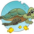 Sea Turtle Cartoon by Graphxpro