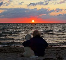 Enjoying the sunset together by Trine