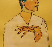 After Egon Schiele (Austria 1890-1918) 'Self Portrait with hands on chest'. 1910 © by Elizabeth Moore Golding