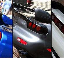 Honda NSX-R, Nissan Skyline GTR, Mazda RX7 Spirit-R collage by MattMcilwhan