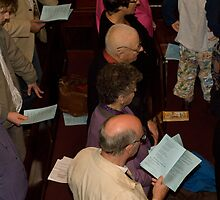 0127  Guests at a baptism. by Pitt Street  Uniting Church, Sydney