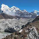 Ngozumba Glacier with Cholatse and Tawoche Peak by Dean Cunningham