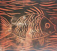 Fishy (linoprint) by Redviolin