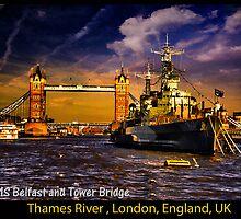 HMS Belfast and Tower Bridge  by LudaNayvelt