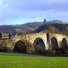 Stirling old bridge with Wallace monument in background by John Butterfield