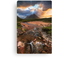 Buachaille Etive Beag at Sunset. River Coupall. Glen Coe. North West Highlands. Scotland. Canvas Print