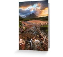 Buachaille Etive Beag at Sunset. River Coupall. Glen Coe. North West Highlands. Scotland. Greeting Card