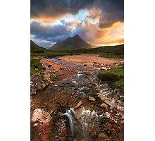 Buachaille Etive Beag at Sunset. River Coupall. Glen Coe. North West Highlands. Scotland. Photographic Print
