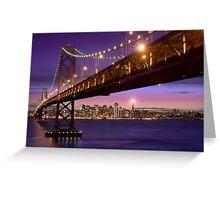 The SF Bay Bridge at Twilight Greeting Card