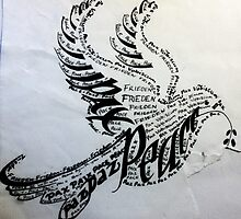 calligraphic peace dove by shannon morris