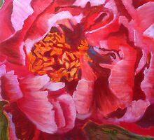 Blooming Peony, mixed media on canvas by Sandrine Pelissier