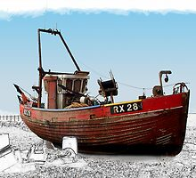 Old Red Fishing Boat by hootonles