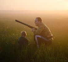 A father and his boy hunters in the mist by nikonsteve