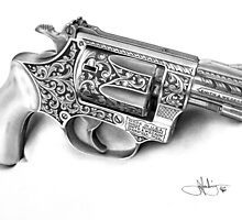Smith and Wesson drawing by John Harding